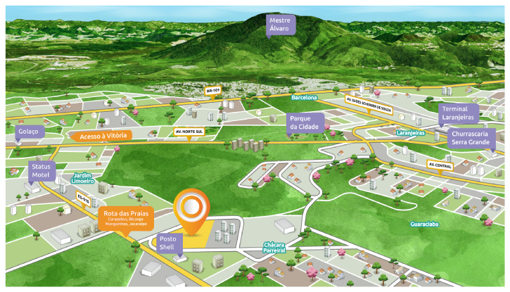 Mapa mostra as vantagens de localização do Villa do Mestre Residencial Clube